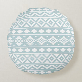 Aztec Essence Ptn III White on Duck Egg Blue Round Pillow