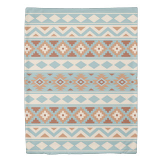 Aztec Essence Ptn IIIb Blue Cream Terracottas Duvet Cover