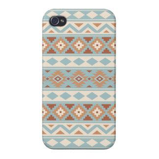 Aztec Essence Ptn IIIb Blue Cream Terracottas iPhone 4/4S Cases