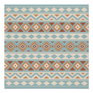 Aztec Essence Ptn IIIb Blue Cream Terracottas Poster