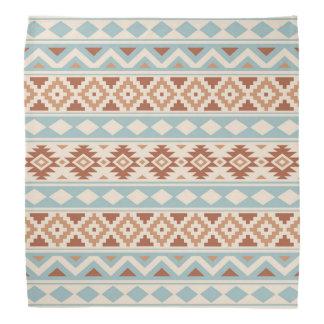 Aztec Essence Ptn IIIb Cream Blue Terracottas Bandana