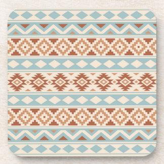 Aztec Essence Ptn IIIb Cream Blue Terracottas Coaster