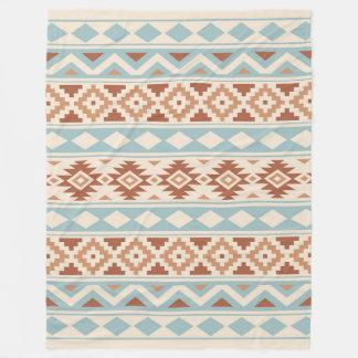 Aztec Essence Ptn IIIb Cream Blue Terracottas Fleece Blanket