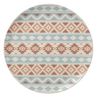 Aztec Essence Ptn IIIb Cream Blue Terracottas Plate