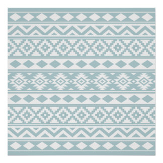 Aztec Essence Ptn IIIb Duck Egg Blue & White Poster