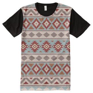 Aztec Essence Ptn IIIb Taupe Blue Crm Terracottas All-Over-Print T-Shirt