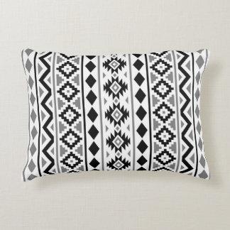 Aztec Essence (V) Pattern III Black White Gray Decorative Pillow