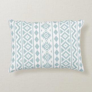 Aztec Essence (v) Ptn III Duck Egg Blue on White Accent Pillow