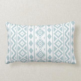 Aztec Essence (v) Ptn III Duck Egg Blue on White Lumbar Pillow