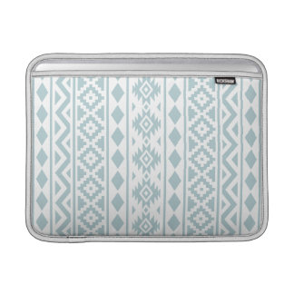 Aztec Essence (v) Ptn III Duck Egg Blue on White MacBook Sleeve