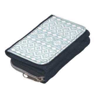 Aztec Essence (v) Ptn III Duck Egg Blue on White Wallets