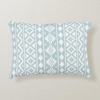 Aztec Essence (v) Ptn III White on Duck Egg Blue Accent Pillow