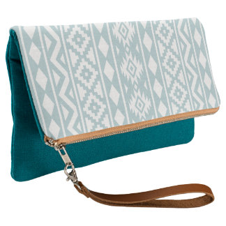 Aztec Essence (v) Ptn III White on Duck Egg Blue Clutch