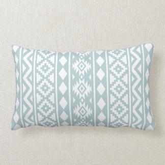 Aztec Essence (v) Ptn III White on Duck Egg Blue Lumbar Pillow