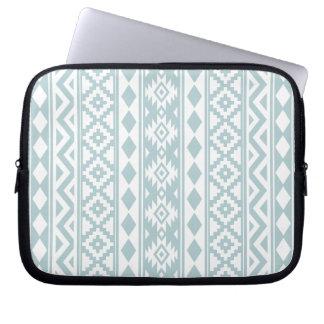 Aztec Essence V Ptn IIIb Duck Egg Blue & White Laptop Sleeve