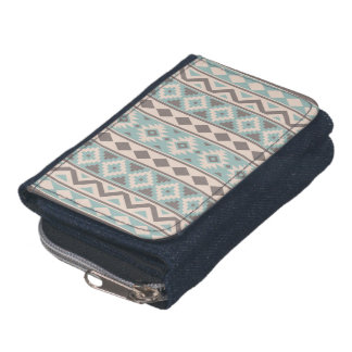Aztec Essence V Ptn IIIb Taupe Teal Cream Wallet