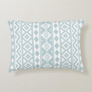 Aztec Essence (v) Ptn IIIb White & Duck Egg Blue Accent Pillow
