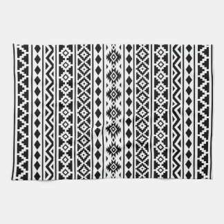 Aztec Essence Vertical Ptn II Black on White Hand Towel