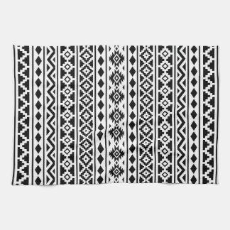 Aztec Essence Vertical Ptn II Black on White Kitchen Towel
