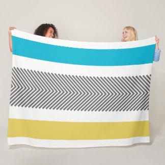 Aztec Geometric Blue Yellow Abstract Arrow Pattern Fleece Blanket