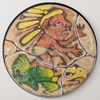 Aztec God colour - Amazing Mexico Magnet 6 Inch Round Button