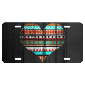 Aztec heart license plate