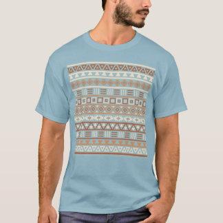 Aztec Influence Pattern Blue Cream Terracottas T-Shirt