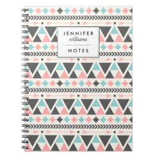 Aztec Inspired Coral and Mint Pattern Notebook