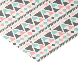Aztec Inspired Coral and Mint Pattern Tissue Paper