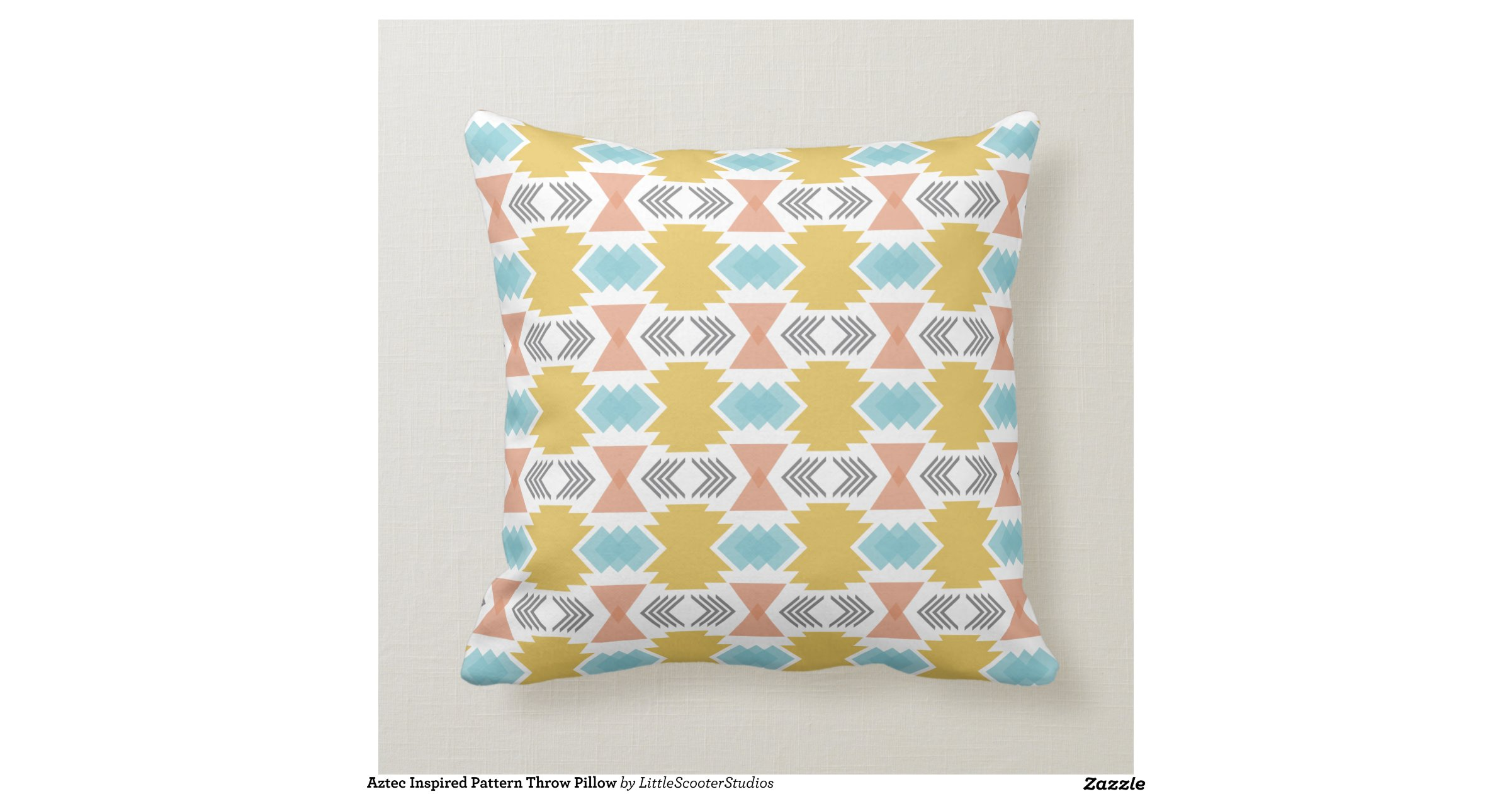 Throw Pillow Design Patterns : Aztec Inspired Pattern Throw Pillow Zazzle