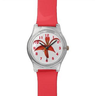 Aztec Lily Fleur de Lis Flower Edit Numbers Wristwatch
