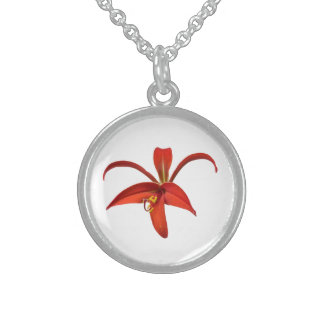 Aztec Lily Red Flower Photo Sterling Silver Necklace