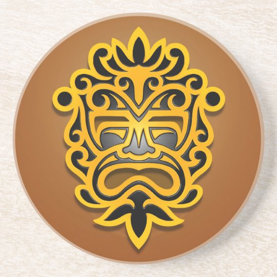 Aztec Mask Design, Yellow and Black Coaster