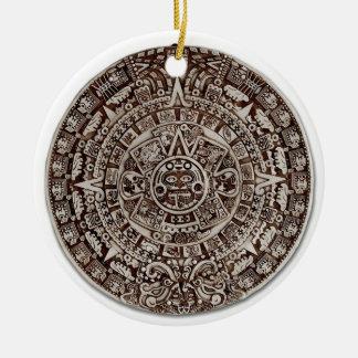 Aztec Mayan calendar/ Round Ceramic Ornament