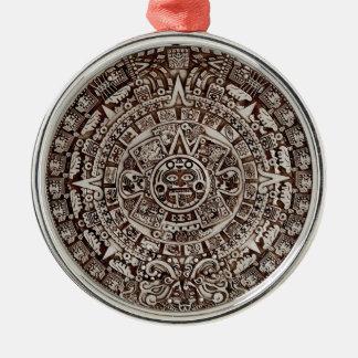 Aztec Mayan calendar/ Silver-Colored Round Ornament