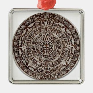 Aztec Mayan calendar/ Silver-Colored Square Ornament