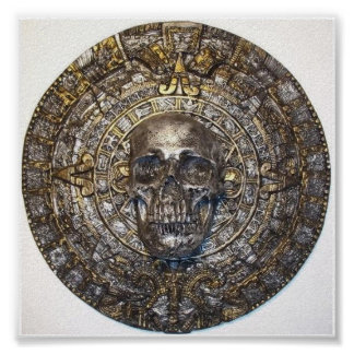 Aztec/Mayan Calendar With Skull Poster