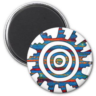 Aztec Mayan Multi-Coloured Sundial Magnet