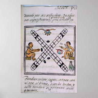 Aztec men gambling Patoli Poster