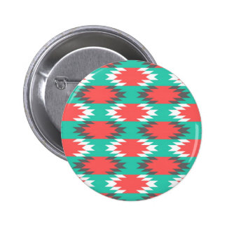 Aztec Native American Turquoise and Pink Pattern 2 Inch Round Button