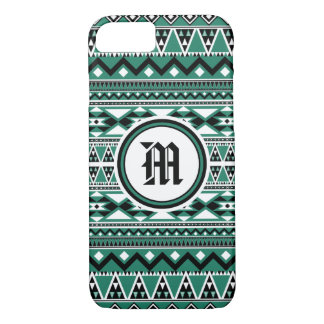 Aztec Pattern BEmeraldW (Personalize Monogram) iPhone 8/7 Case