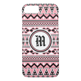Aztec Pattern BSPinkW (Personalize Monogram) iPhone 8/7 Case