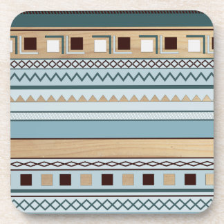 Aztec Pattern in Blue and Wood Grain Beverage Coaster