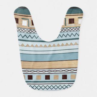 Aztec Pattern in Blue and Wood Grain Bib