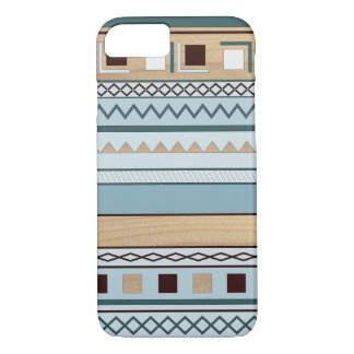 Aztec Pattern in Blue and Wood Grain iPhone 7 Case