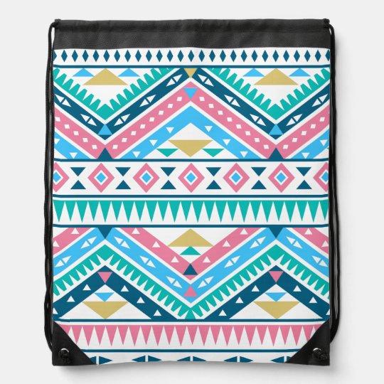 Aztec Pattern Lt Drawstring Bag