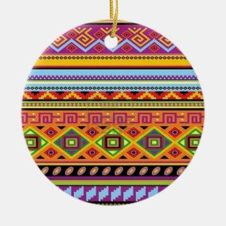 Aztec Pattern Popular Affordable Design Round Ceramic Ornament