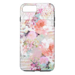 Aztec Pink Teal Watercolor Chic Floral Pattern iPhone 7 Plus Case