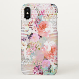 Aztec Pink Teal Watercolor Chic Floral Pattern iPhone X Case