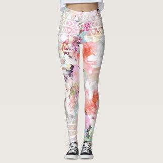 Aztec Pink Teal Watercolor Chic Floral Pattern Leggings